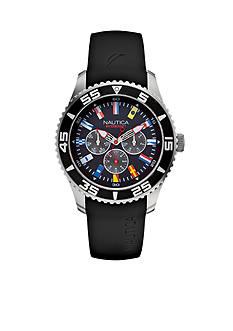 Nautica Men's NST 07 Flags Black Multi Function Watch