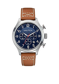 Nautica Men's BFD 101 Tan Classic Chronograph Watch