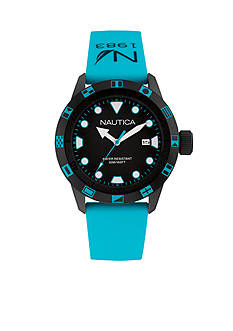 Nautica Men's Turquoise and Black Silicone Watch