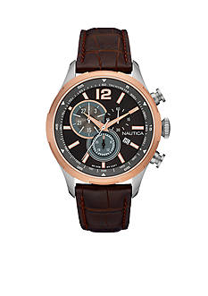 Nautica Men's NCS 18 Rose Gold-Tone and Brown Chronograph Watch