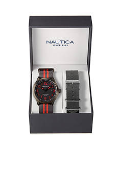 Nautica Men's Grey and Red Watch with Interchangeable Strap Box Set