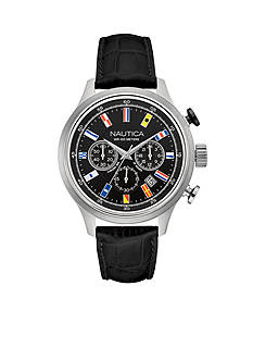 Nautica Men's NCT 16 Flags Black Chronograph Watch