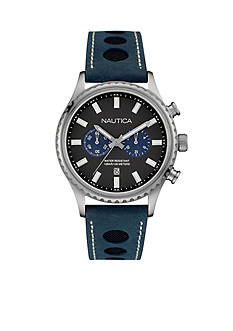 Nautica Men's Navy Leather Watch