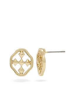 Gracewear Shield of Faith Medallion Button Earrings