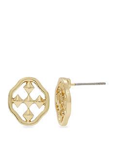 Gracewear Gold-Tone Shield of Faith Button Earrings