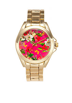 A Classic Time Watch Co. Women's Floral Gold Link Watch