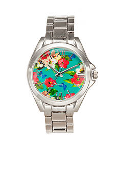 A Classic Time Watch Co. Women's Floral Silver Link Watch