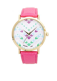 A Classic Time Watch Co. Women's Pink Chevron Watch