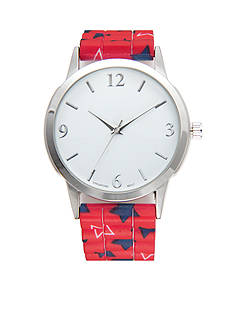A Classic Time Watch Co. Women's Red Strap with Stars Watch