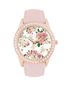 Jessica Carlyle Women's Pink Embellish Floral Watch