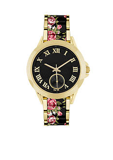 Jessica Carlyle Women's Pink & Black Floral Watch