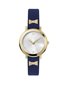 Jessica Carlyle Women's Navy Strap with Gold Bows Watch