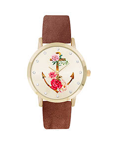 Jessica Carlyle Women's Floral Anchor Luggage Watch