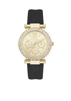 Jessica Carlyle Women's Embellished Dial Quilted Strap Watch