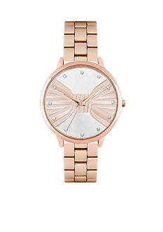Jessica Carlyle Women's Rose-Gold Tone Bow Watch