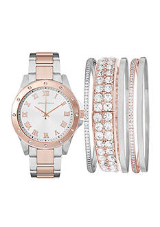 Jessica Carlyle Women's Two Tone Watch and Bracelet Set