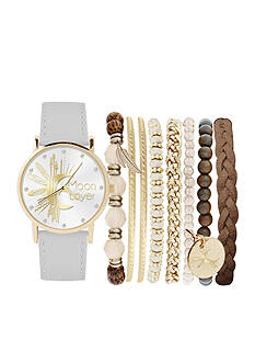 Jessica Carlyle Women's White Moon Lover Watch & Bracelet Set