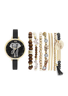 Jessica Carlyle Women's Elephant Watch and Bracelet Set