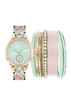 Jessica Carlyle Women's Mint & Pink Floral Watch & Bangle Set