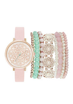 Jessica Carlyle Women's Pink Pearl Watch & Bangle Set