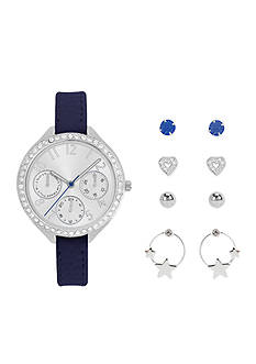Jessica Carlyle Women's Silver-Tone Watch and Earring Set