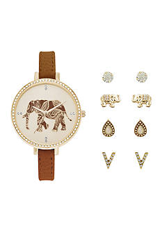 Jessica Carlyle Women's Elephant Watch and Earring Set