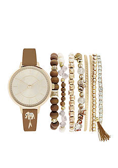 Jessica Carlyle Women's Elephant Charm Gold-Tone Watch and Bracelet Set