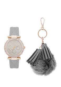 Jessica Carlyle Women's Gray Quilted Watch and Tassel Keychain Set
