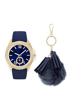 Jessica Carlyle Women's Navy and Gold-Tone Watch and Keychain Set