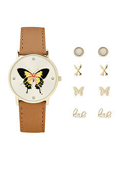 Jessica Carlyle Women's Butterfly Watch and Earrings Set