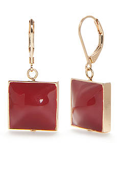 New Directions Gold-Tone Americana Square Drop Earrings