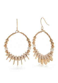 New Directions Gold-Tone Natural Elements Gypsy Hoop Earrings