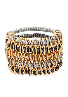 Steve Madden Tri Tone Multi Row Mesh Stretch Bracelet