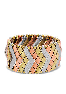 Steve Madden Tri-Tone Tribal Gone Wild Metal Snake Stretch Bracelet