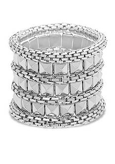Steve Madden Pyramid And Mesh Stretch Bracelet Set