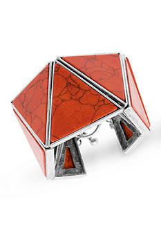 Steve Madden Silver-Tone Dye Job Triangle Stone Toggle Bracelet