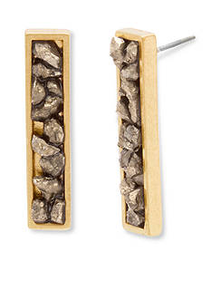 Steve Madden Gold-Tone Gypsy Spirit Pyrite Linear Earrings