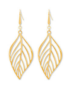 Gold Tribal Gone Wild Steve Madden Wavy Cutout Leaf Earrings