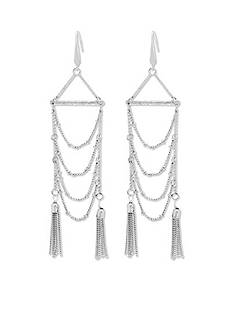 Silver Tribal Gone Wild Steve Madden Chandelier Chain Tassel Earrings