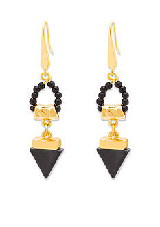 Steve Madden Gold-Tone Tribal Gone Wild Stone Drop Earrings
