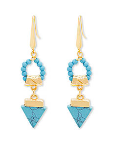 Gold And Turquoise Tribal Gone Wild Steve Madden Triangle Stone Drop Earrings
