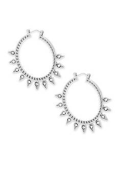 Steve Madden Tribal Rhinestone Hoop Earrings