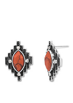 Steve Madden Silver -Tone Coral Dye Job Tribal Stone Stud Earrings
