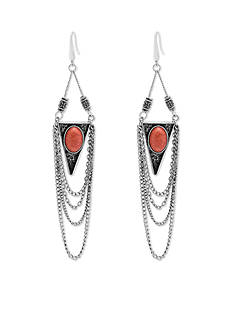 Silver And Coral Dye Job Steve Madden Tribal Stone Drape Earrings