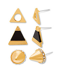 Gold And Black Steve Madden Core Steve Madden Tribal Spike And Geo Stud Earring Set