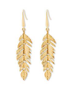Steve Madden Metal Leaf Drop Earrings