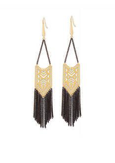 Steve Madden Two Tone Tribal Cutout Fringe Earrings