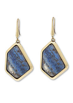 Steve Madden Gold-Tone Dye Job Lapis Stone Drop Earrings