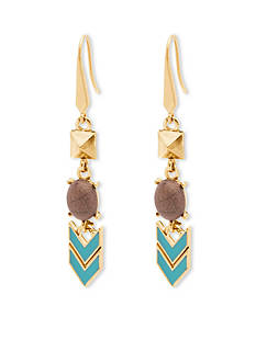 Steve Madden Gold-Tone Mixed Media Pyramid Linear Earrings
