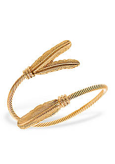 Steve Madden Gold-Tone Feather Cuff Bracelet